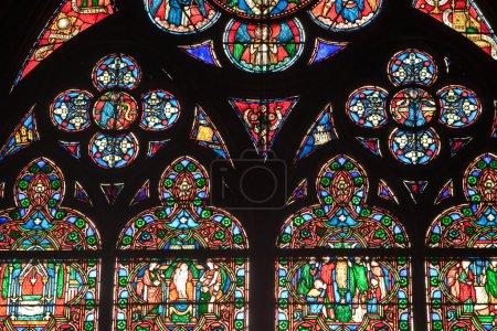 Photo pour Vitraux dans la cathédrale Notre-Dame de Paris, Paris, France - image libre de droit