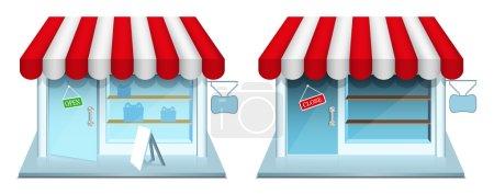 Illustration pour Boutique avec porte fermée et ouverte. Icônes vectorielles. PSE8 . - image libre de droit