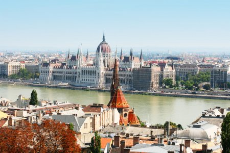 Hungarian parliament, Budapest on summer with blue sky