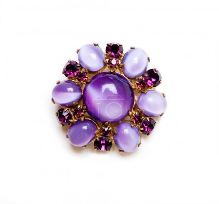 Photo for Retro brooche with lilac gems isolated on a white - Royalty Free Image