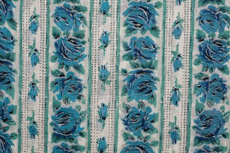Fabric with blue roses