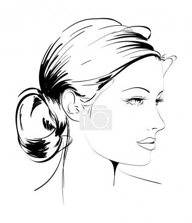 Hand-drawn fashion model. Vector illustration. Woman