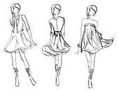 Hand-drawn fashion model