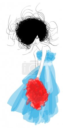 Illustration for Hand-drawn fashion model. Vector illustration. - Royalty Free Image