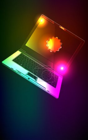 The computer in neon light. A vector illustration