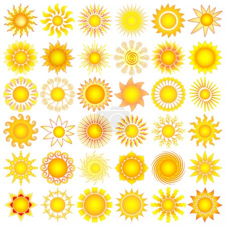 Illustration for Bright symbolic vector sun collection - Royalty Free Image