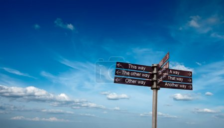 Signpost in sky