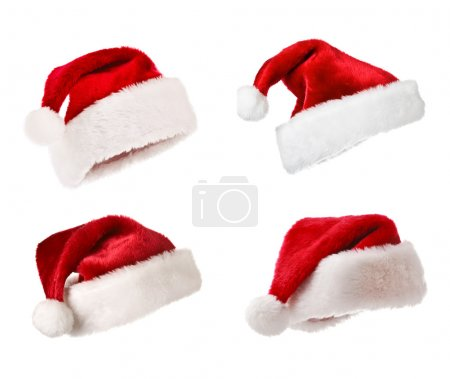 Santa hats isolated on white