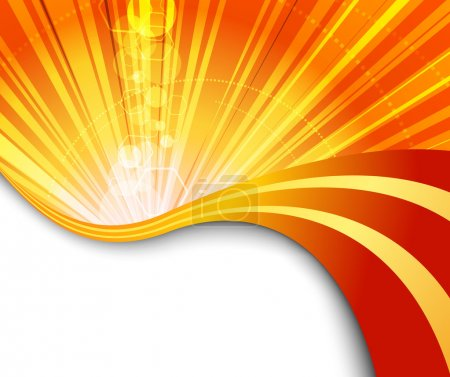 Sunburst flaring orange background