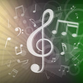 The modern abstract music notes and geometrical shapes background