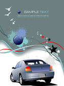 Gray background with blue car Vector illustration