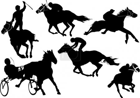 Horse racing silhouettes. Colored Vector illustrat...