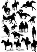 Sixteen Horse racing silhouettes Colored Vector illustration f
