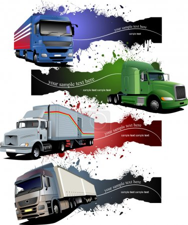Photo for Four grunge Banners with colored trucks. Vector illustration - Royalty Free Image