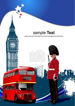 Cover for brochure with London images. Vector illustration