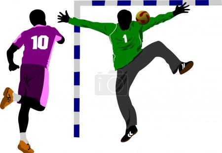 Handball players silhouette. Vector colored illustration