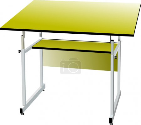School desk on white isolated background. Vector illustration