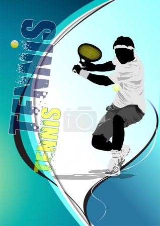 Eps10 Tennis player poster. Colored Vector eps 10 illustration f