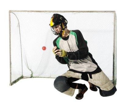 Floorball goalkeeper on the white