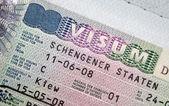 Page of passport with Schengen visa