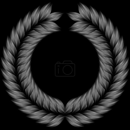 Gray wreath on black background, isolated