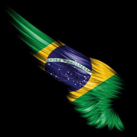 Abstract wing with Brazil flag on black background