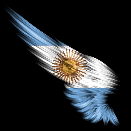Photo for The Abstract wing with Argentina flag on black background - Royalty Free Image