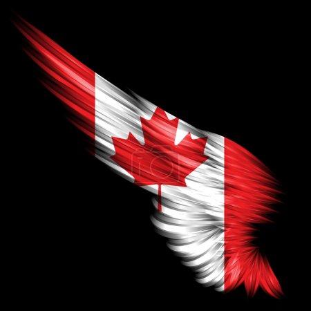 Photo pour L'aile abstraite avec le drapeau du Canada sur fond noir - image libre de droit