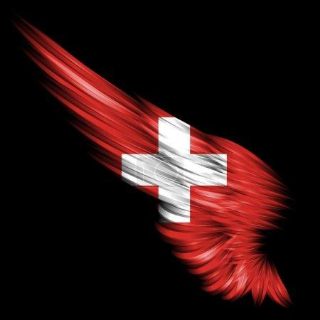 Photo pour L'aile abstraite avec drapeau suisse sur fond noir - image libre de droit