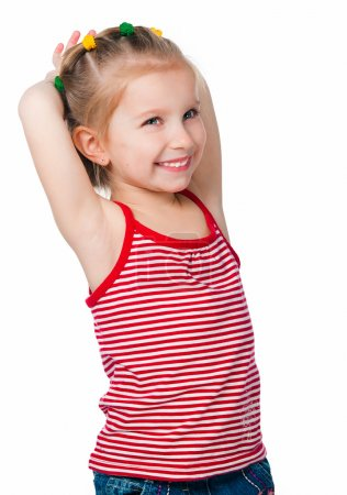 Photo for Portrait of a happy liitle girl over white - Royalty Free Image