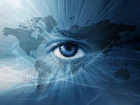 Photo pour Continental wallpaper abstrait avec yeux bleu et la carte de monde - image libre de droit