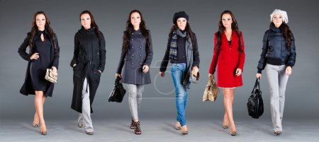 Photo for Girl in different clothes, autumn winter collection clothes - Royalty Free Image