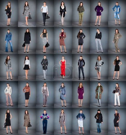 Photo for Girls in different clothes, collection from 35 pieces - Royalty Free Image