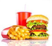 """Постер, картина, фотообои """"Аппетитный гамбургер и картофель фри"""""""