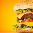 Tasty and appetizing hamburger on a yellow backgro...