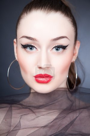 Photo for Beautiful portrait of girl with stylish make up, close up shot - Royalty Free Image