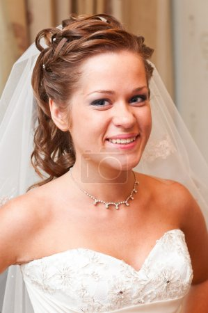 Photo for Beautiful bride portrait indoors before wedding ceremony - Royalty Free Image