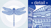 Vector illustration of a dragonfly in a draft style