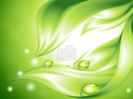 Illustration for Abstract green background with leaves and water drops (no mesh) - Royalty Free Image