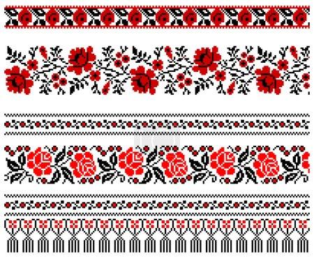 Illustration pour Illustrations vectorielles de broderies ukrainiennes ornements, motifs, cadres et bordures . - image libre de droit