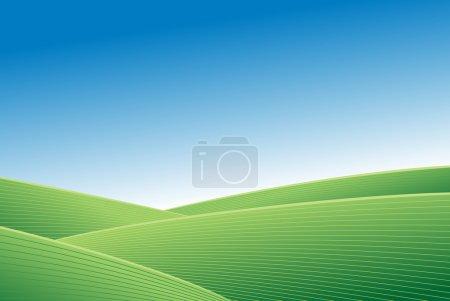 Illustration pour Champ vert abstrait et fond vectoriel ciel bleu - image libre de droit