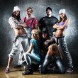 Dancer team. Contrast colors effect....