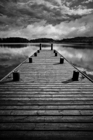 Wooden bridge. Black and white concept....