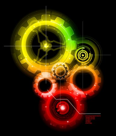 Illustration for Glowing Techno Gears , colorful vector - Royalty Free Image