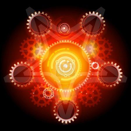 Illustration pour Pentagramme Techno lumineux avec vecteur détaillé des engrenages - image libre de droit