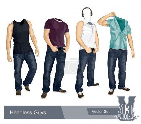 Illustration for Set of headless guys isolated on white. Vector EPS 10 illustration. - Royalty Free Image