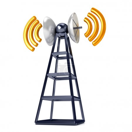 Photo for Mobile antena over white. Communication concept - Royalty Free Image