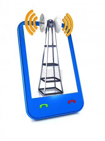Photo pour Antenne mobile sur blanc. Concept de communication - image libre de droit