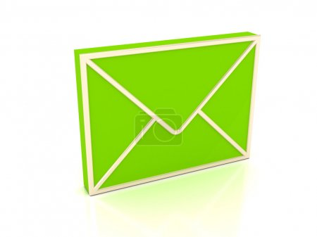 3d green envelope over white background