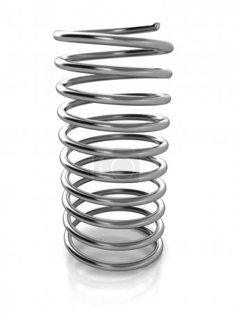 Chrome metal spring over white background